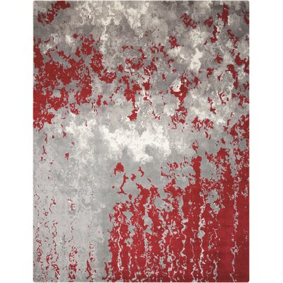 Antigua Gray/Red Area Rug Rug Size: 7'9