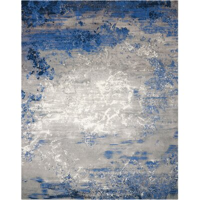 Antigua Blue/Gray Area Rug Rug Size: 5'6