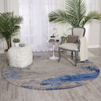 Antigua Blue/Gray Area Rug Rug Size: Round 8 x 8