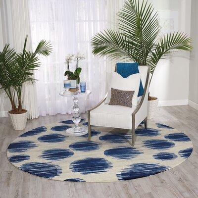 Antigua Ivory/Blue Area Rug Rug Size: Round 8 x 8