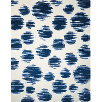 Antigua Ivory/Blue Area Rug Rug Size: 86 x 116