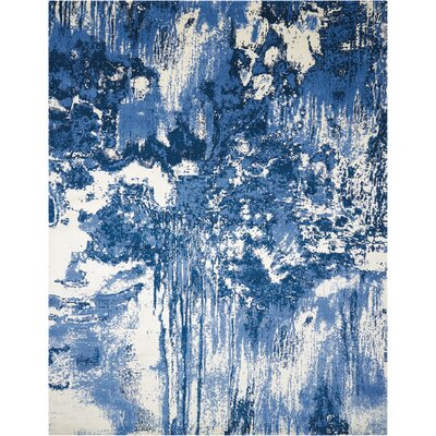 Antigua Blue/Ivory Area Rug Rug Size: 12 x 15