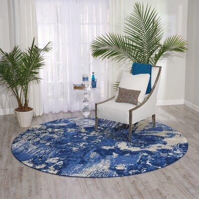 Antigua Blue/Ivory Area Rug Rug Size: Round 8 x 8