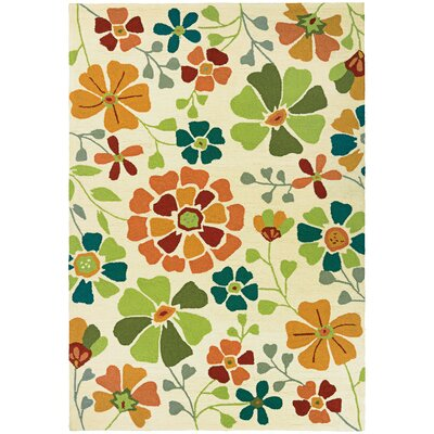 Carissa Poppy Field Hand-Woven Ivory Indoor/Outdoor Area Rug Rug Size: 2' x 4'