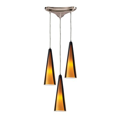 Josefina 3-Light Pendant Glass Type: Sahara