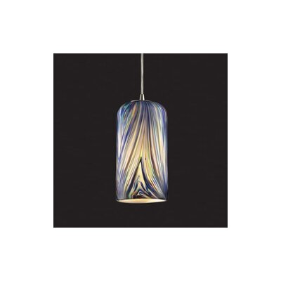 Oakridge 1-Light Mini Pendant Finish: Satin Nickel and Molten Ocean Glass