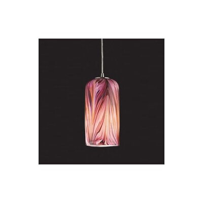 Oakridge 1-Light Mini Pendant Finish: Satin Nickel and Molten Rose Glass