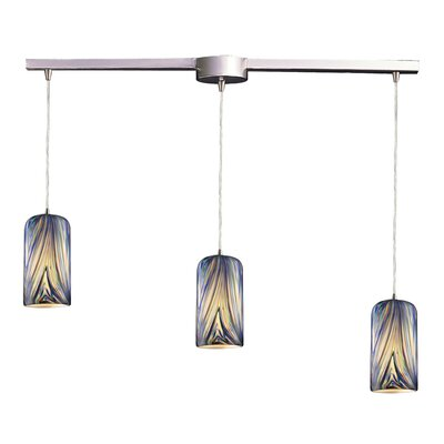 Oakridge 3-Light Linear Pendant Glass Type: Molten Ocean