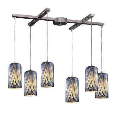 Oakridge 6-Light Pendant Glass Type: Molten Ocean