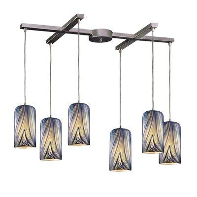 Oakridge 6-Light Pendant Glass Type: Molten Ocean