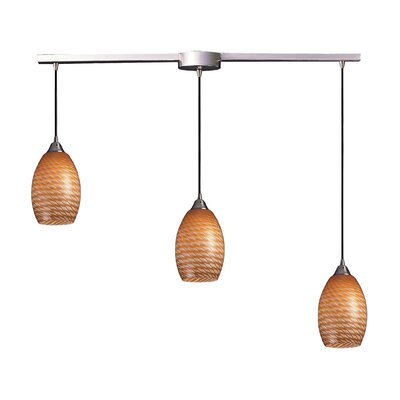 Flemington 3-Light Linear Pendant Glass Type: Multi Glass