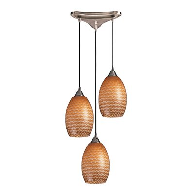 Flemington 3-Light Pendant Glass Type: Cocoa