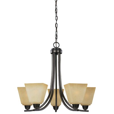 Atami 5-Light Shaded Chandelier Finish: Flemish Bronze, Shade Color: Cr�me Parchment