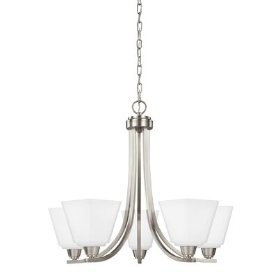 Atami 5-Light Shaded Chandelier Finish: Brushed Nickel, Shade Color: White Etched