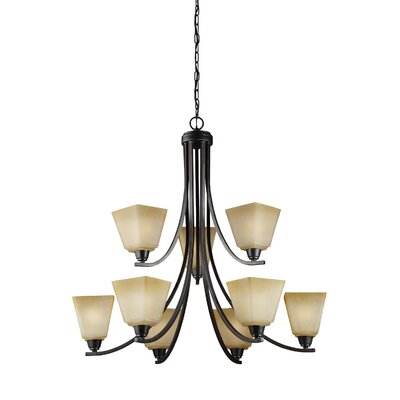 Atami 9-Light Shaded Chandelier Finish: Flemish Bronze