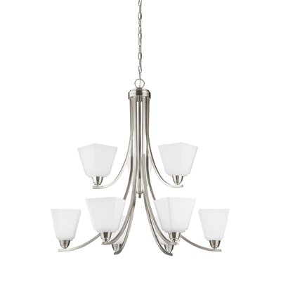 Atami 9-Light Shaded Chandelier Finish: Brushed Nickel