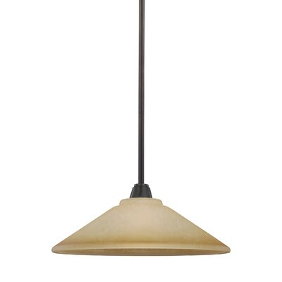 Atami 1-Light Inverted Pendant Base Finish: Flemish Bronze, Shade Color: Cr�me Parchment