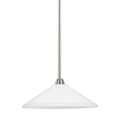 Atami 1-Light Inverted Pendant Base Finish: Brushed Nickel, Shade Color: White Etched