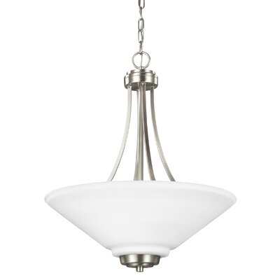 Atami 3-Light Bowl Pendant Base Finish: Brushed Nickel, Shade Color: White Etched