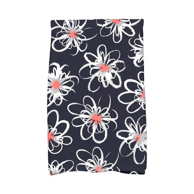 Floral Hand Towel Color: Navy Blue