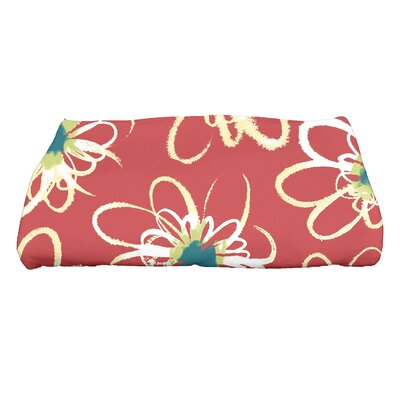 Floral Print Bath Towel Color: Coral