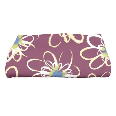 Floral Print Bath Towel Color: Purple