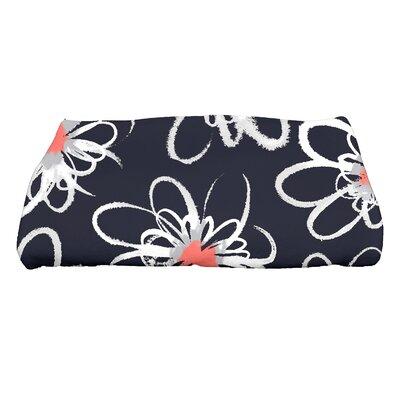 Floral Print Bath Towel Color: Navy Blue