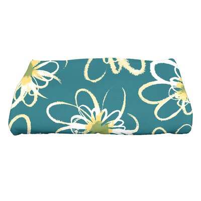 Floral Print Bath Towel Color: Teal