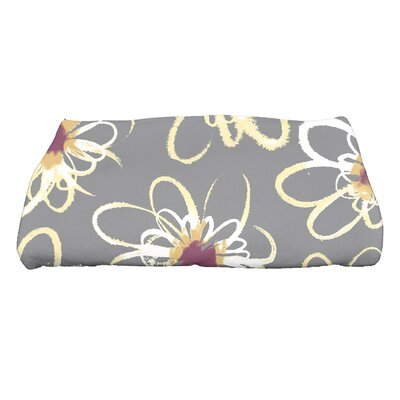Floral Print Bath Towel Color: Gray