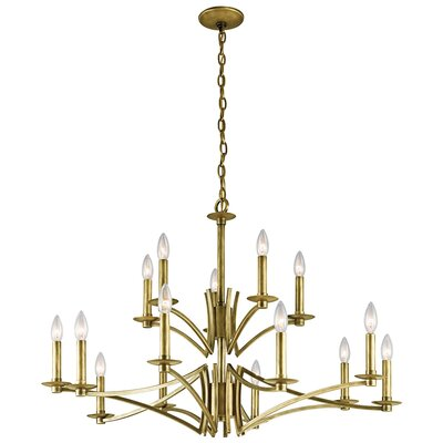 Mandurah 15-Light Candle-Style Chandelier Finish: Natural Brass