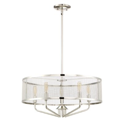 Candelabra bulb 5-Light Drum Pendant Finish: Polished Nickel