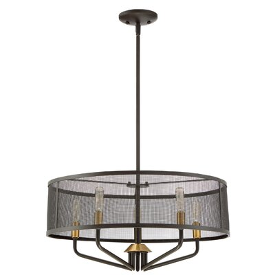 Candelabra bulb 5-Light Drum Pendant Finish: Western Bronze/Brass