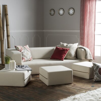 Eugene Denim Sleeper Sofa and Ottomans Upholstery: Natural