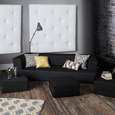 Eugene Denim Sleeper Sofa and Ottomans Upholstery: Black