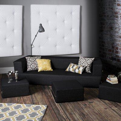 Colbie Denim Sleeper Sofa and Ottomans Upholstery: Black