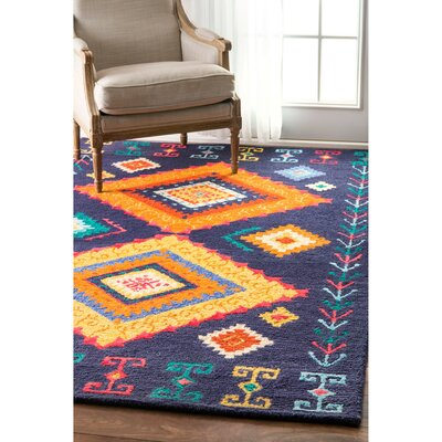 Antonia Hand-Tufted Navy Area Rug Rug Size: Rectangle 7'6