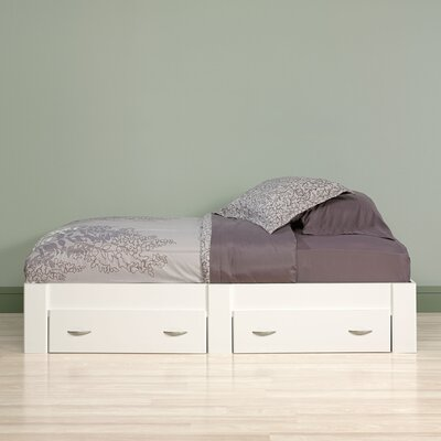 Everett Twin Platform Bed with Storage Finish: Soft White
