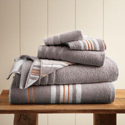 Racer Stripe 6 Piece Towel Set Color: Ash Gray