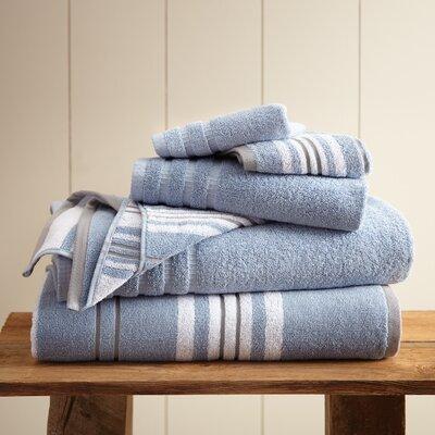 Racer Stripe 6 Piece Towel Set Color: Blue
