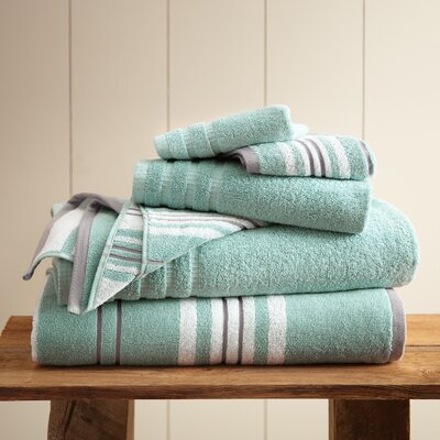 Racer Stripe 6 Piece Towel Set Color: Aqua