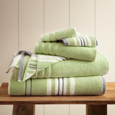 Debolt Stripe 6 Piece Towel Set Color: Sage Green