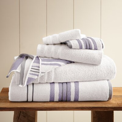 Debolt Stripe 6 Piece Towel Set Color: White