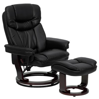 Winnols Leathersoft Recliner and Ottoman III Upholstery: Black
