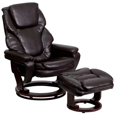Winnols Manual Swivel Recliner with Ottoman Upholstery: Brown