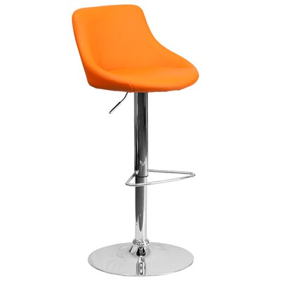 Winnols Adjustable Height Swivel Bar Stool Upholstery: Orange
