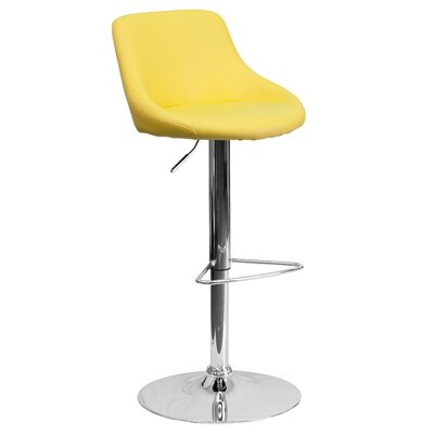 Winnols Adjustable Height Swivel Bar Stool Upholstery: Yellow