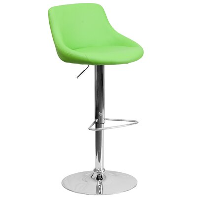 Winnols Adjustable Height Swivel Bar Stool Upholstery: Green