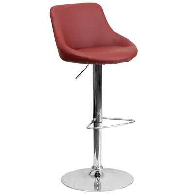Winnols Adjustable Height Swivel Bar Stool Upholstery: Burgundy