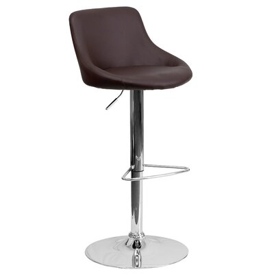 Winnols Adjustable Height Swivel Bar Stool Upholstery: Brown