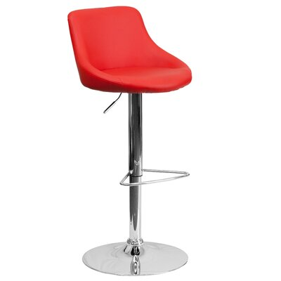 Winnols Adjustable Height Swivel Bar Stool Upholstery: Red